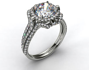 Platinum Split Shank Pave Halo with Pave Diamond Details
